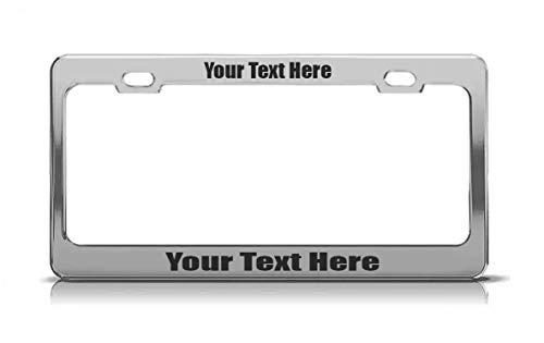 Custom Personalized Metal Aluminum License Plate Frame Auto Car Accessory (Chrome -Vinyl)