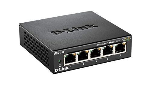 D-Link DGS-105 5 Port Gigabit Unmanaged Metal Desktop Switch UK Model