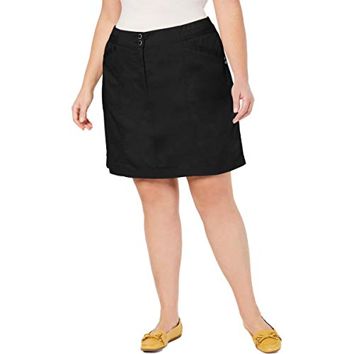 Karen Scott Womens Plus Cotton Blend Above Knee Skort Black 24W