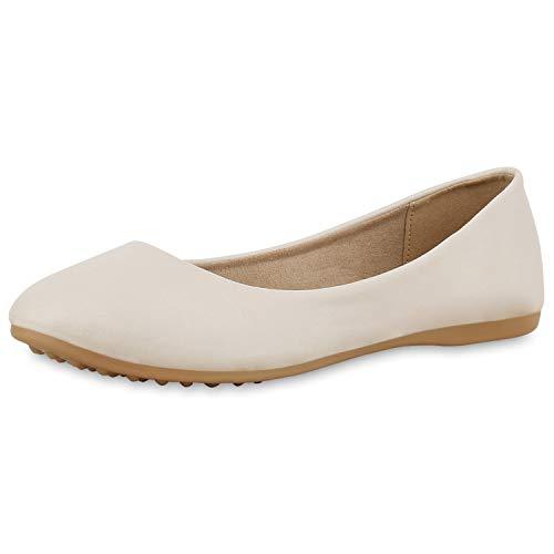 SCARPE VITA Damen Klassische Ballerinas Basic Slipper Leder-Optik Freiezit Slip On Schuhe Flats Schlupfschuhe 174403 Creme Total 36