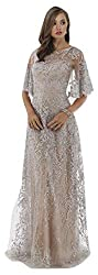 Silver Lara 33277 Cape Sleeves lace Column Dress
