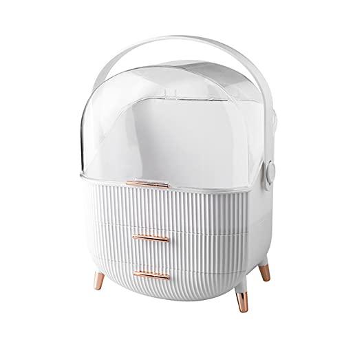 xinlianxin Caja cosmética de acrílico de moda transparente para maquillaje, caja de almacenamiento para el hogar, organizador multifuncional de viaje (color: blanco)