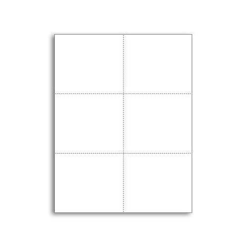 Laser Printer Blank Perforated Cards 6 up per Page (White, 300 Cards)