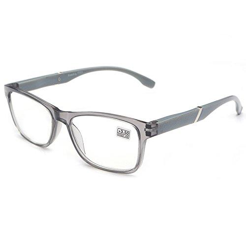 VEVESMUNDO Lesebrille Damen Herren Halbrahmen Federscharnier Vintage Halbbrille Lesehilfe Sehhilfen Brillen mit Stärke 1.0 1.5 2.0 2.5 3.0 3.5 4.0 (Grau, 4.0)