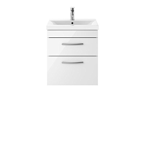 Nuie ATH020B Athena ǀ Modern Bathroom Wall Hung Contemporary Double Soft Close Drawer Vanity Unit...