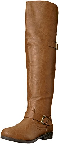 Brinley Co Women's Sugar Over The Knee Boot, Chestnut, 6 Regular US