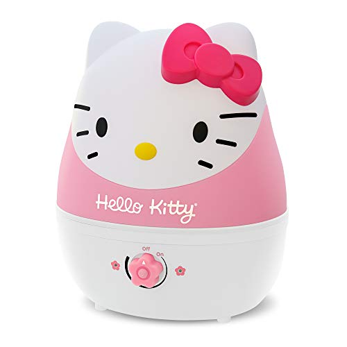 Crane Adorables Ultrasonic Cool Mist Humidifier, Filter Free, 1 Gallon, 500 Sq Ft Coverage, Whisper Quite, Air Humidifier for Plants Home Bedroom Baby Nursery and Office, Hello Kitty
