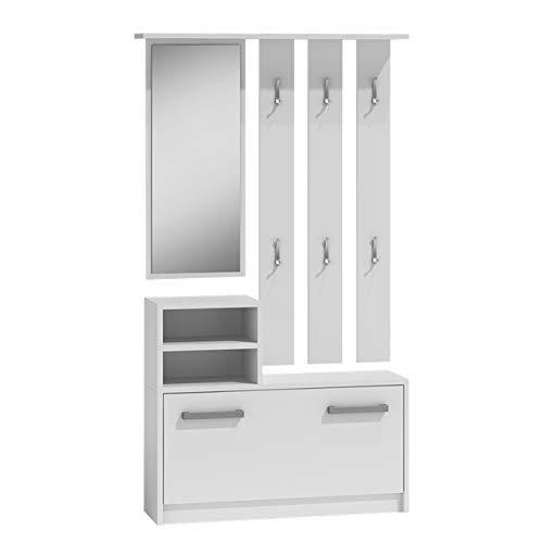 Mirjan24 Garderoben-Set Biel mit 6 Kleiderhaken, Spiegel, Schuhschrank, Farbauswahl, Wandgarderobe (Weiß)