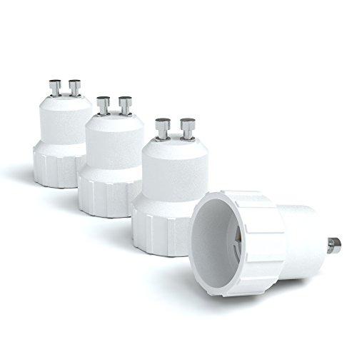 4x Lampensockel Adapter – Konverter für GU10 Fassung auf E14 | Lampenadapter für LED-/Halogen- und Energiesparlampen | Sockeladapter von EAZY CASE, weiß