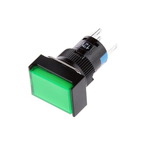 Bonarty Interruptor Momentáneo de Luz LED Cuadrada con Botón Pulsador de 16...