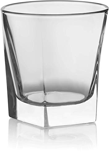 Circleware 10131 Ice Cube Heavy Base Whiskey Glass, Set of 4, Kitchen Entertainment Drinking Glassware for Water, Juice, Beer and Bar Liquor Dining Decor Beverage Cups Gifts, 10 oz