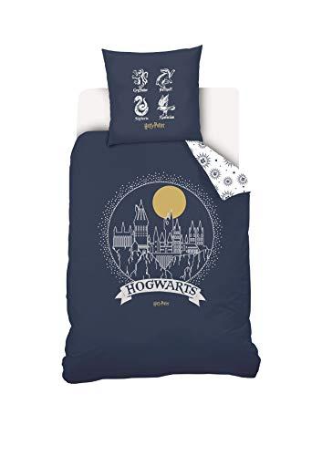Warner Harry Potter Bettwäsche, Bettbezug und Kissenbezug, 100% Baumwolle, 140 x 200 cm, Blau/Weiß, 63 x 63 cm