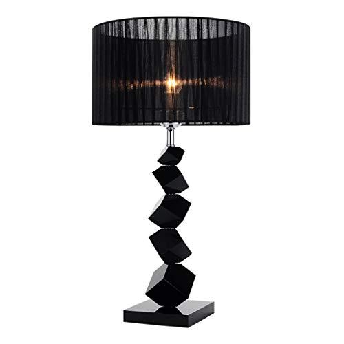 lámpara de mesa Lámpara de cabecera del interruptor de botón E27 lámpara decorativa Mesilla de noche con Negro pantalla de la tela, K9 lámpara de mesa de cristal for el dormitorio, sala de estar, sala