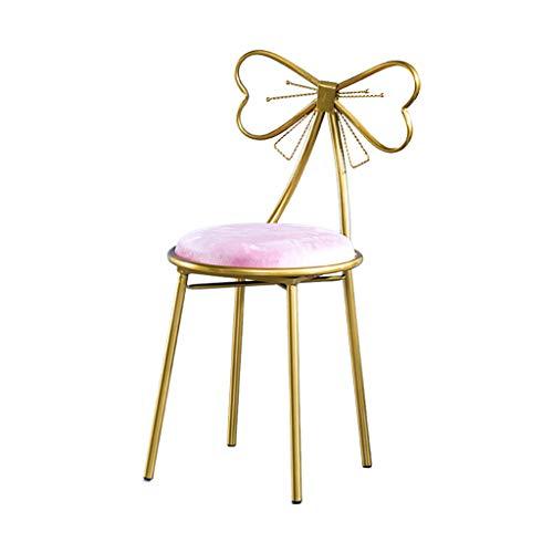 Chambre à Coucher Coiffeuse Tabouret, Déesse Décoration Chaise Longue en métal Art de Fer Chaise de Salle à Manger Noeud Papillon Fauteuil Décoration Meubles 45 CM,C