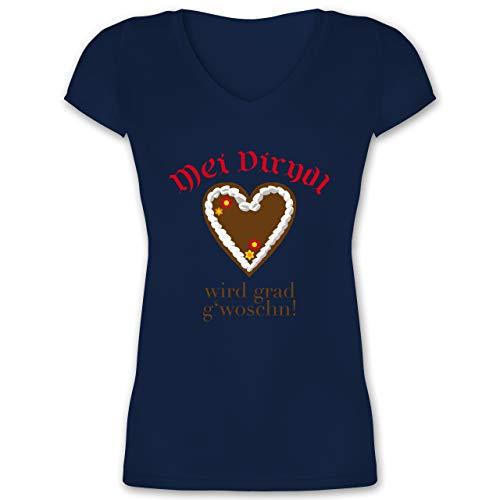 Oktoberfest Damen - Dirndl Wird g'woschn - Shirt statt Dirndl - 3XL - Dunkelblau - Karierte blusen Oktoberfest - XO1525 - Damen T-Shirt mit V-Ausschnitt