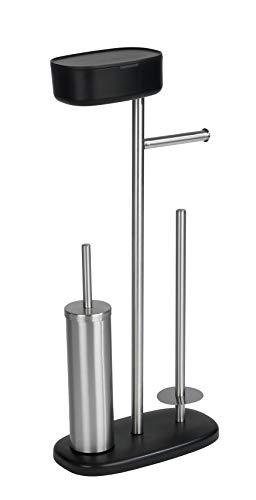 WENKO Stand WC-Garnitur mit Box Rivazza, mit integriertem Toilettenpapierhalter, WC-Bürstenhalter, Ersatzrollenhalter und Ablagebox, rostfreier Edelstahl und Kunststoff, 17 x 72,5 x 32 cm, Schwarz
