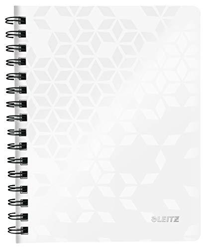 Leitz WOW Collegeblock in A5 Format, 80 Blatt, Liniert, Elfenbeinfarbiges Papier (80 g/m2), Spiralbindung, Perlweiß, WOW, 46390001