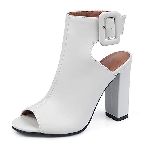 Slenderer Moda Mujer Sandalias Tacon Ancho Tacon Alto Peep Toe Verano Botines Zapatos Animal Print Correa De...