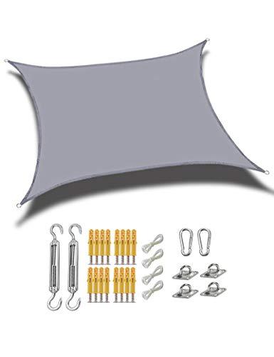 gfdfrg Cuadrado/Rectangular Toldo Exterior Vela de Sombra,protección 90% Rayos UV Impermeable Toldo de Vela con Kit de Fijación para Patio al Aire Libre, Jardín,Gris