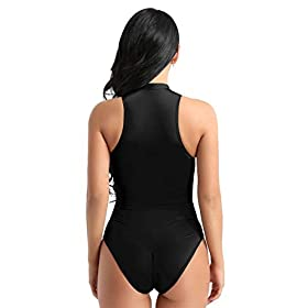 MSemis Womans Mock Neck Sleevless Zipper Crotch Bodysuit Thong Leotard One-Piece Swimsuit Swimwear