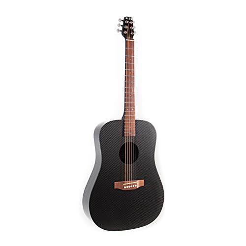 KLOS Black Carbon Fiber Full Size Acoustic Electric Guitar Kit with Gig Bag, Strap, Capo, and more