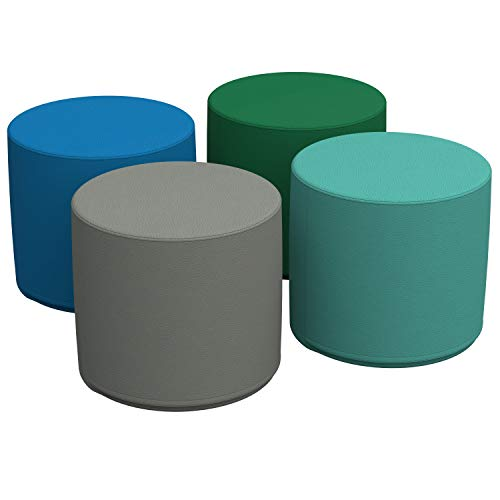 FDP SoftScape 18' Round Ottoman, Collaborative Flexible Seating for Kids, Teens, Adults, Furniture for Classrooms, Offices and in-Home Learning, Standard 16' H, (4-Piece Set) - Contemporary