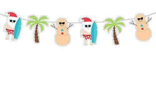 Crafty Cue 5' Tall Christmas in July Garland, Beach Christmas Banner, Christmas in July Party Bunting Garland, Surfing Santa, Snowman Banner, BBQ Christmas