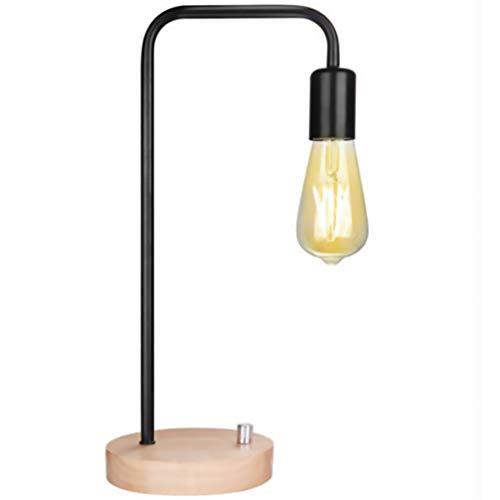 NUOBESTY - Lámpara de mesa de hierro con base de madera, estilo vintage industrial, lámpara de escritorio de hierro forjado en metal para dormitorio, interior, salón, color aleatorio (sin bomb