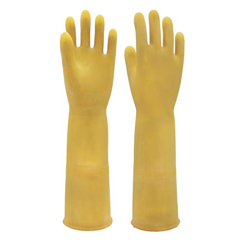 """Thick, Waterproof, Anti-Slip, ShoouBau Industrial Gloves, Palm Size 8.5"""" with 16"""" L, Yellow"""