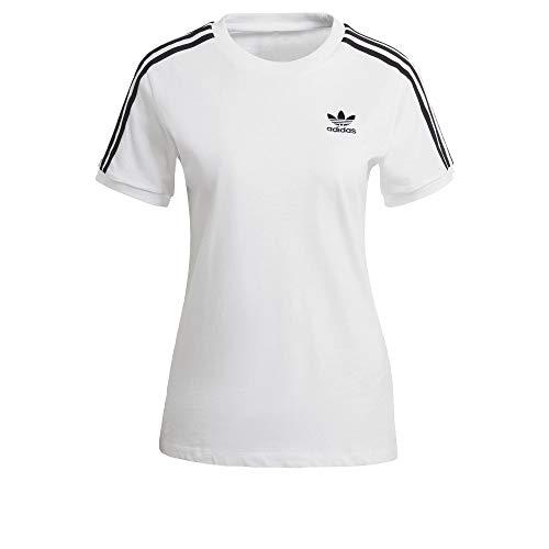 adidas Camiseta para mujer con 3 rayas. blanco 40