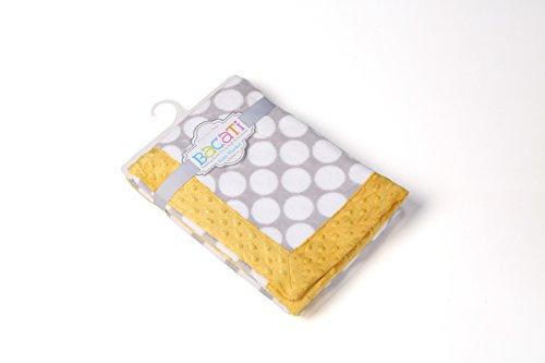 Bacati Grey Ikat Dots with Border Plush Blanket, Grey/Yellow, 30