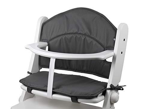 Tinydo® Hochstuhl-Sitzkissen optimal für Geuther Swing und ähnliche Treppenhochstühle mit Memory-Schaum-Dämpfung Sitzverkleinerer-Auflage für Babystühle rutschfest pflegeleicht (dunkelgrau)