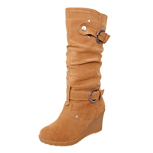 Fullwei Boots for Women,Women Platform Mid-Calf Boot Moto Chunky Wedge Round Toe Combat Boot Ladies Casual Motorcycle Riding Boot Walking Shoe (Brown, 8.5)