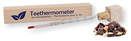 Lantelme Tee Tassen Thermometer Glas in Holz Box analog Teethermometer für Grüner Früchte und Kräutertee 4956