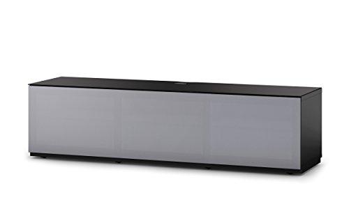 Sonorous STA 260T-BLK-GRY-BW hängende TV-Lowboard mit Sockel, schwarzer Korpus, obere Fläche, gehärtetem Schwarzglas und Klapptür mit grauem Akustikstoff