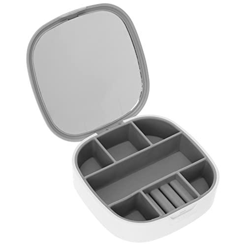 PATKAW Mini Contenitore di Monili Portatile di Stile Nordico Collana Anello Storage Case con Vigilanza Dello Specchio Orecchini Scatola di Trasporto per Le Donne Delle Signore Bianco