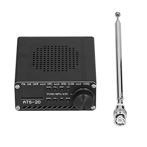 Receptor de Radio de Banda Completa FM Am LW SW Grabadora de Radio portátil de Mano Caja de aleación de Aluminio con Antena ATS-20