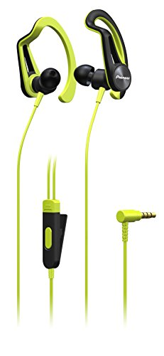 Pioneer SE-E5T(Y) In-Ear Sport/Active Kopfhörer mit Clip (Bedienelement, Mikrofon, leicht und bequem, wasserabweisend (IPX4), 3,5mm Klinkenstecker, für iPhone, Android Smartphones), Gelb