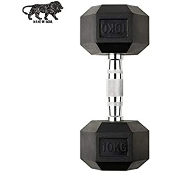 GSM Fitness Hex Dumbbell, 10 kgs, 1 Piece, Rubber Coated