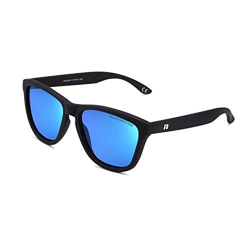 CLANDESTINE Model Matte Black Light Blue - Gafas de Sol de Nylon HD de Hombre & Mujer