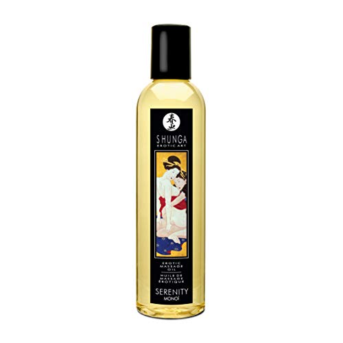Shunga Aceite Masaje Serenity, MonoÏ, Color Amarillo Translúcido - 250 ml, 7.5 cm x 19 cm x 7.5 cm