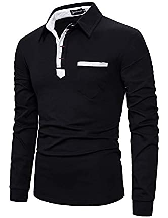 YCUEUST Hombre Polo Manga Larga Camiseta Algodón Slim fit Botón T-Shirt Negro Medium