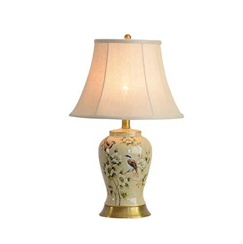 XIANGDONG Lámpara de Mesa salón Lámpara de Mesa de cerámica, Sala de Estar Dormitorio lámpara de Mesa, lámpara de cabecera, lámpara de Mesa Chino botón del Interruptor E27 (Size : 35 * 56)
