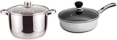 Sabichi Pack of 2, 24cm Essential Stainless Steel Stock Pot and 24cm Easy Grip Frying Pan (Induction Base)