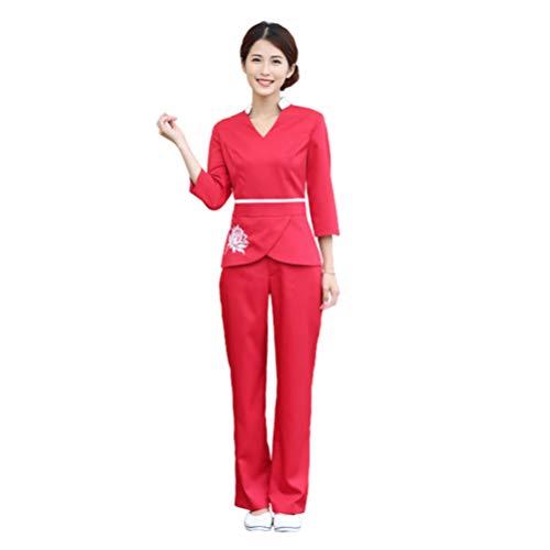 Beaupretty 1 Set Schoonheidssalon Uniform Medische Scrubs Top en Broek Scrub Outfit V-Hals Dokter Verpleegster Kostuum Arbeid Pak-Maat Xxxl (Rood)