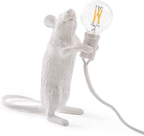 Lámpara de escritorio de ratón lámpara de escritorio de resina creativa lámpara de cabecera lámpara de decoración del hogar Es la lámpara ideal en su hogar-blanco_Estar