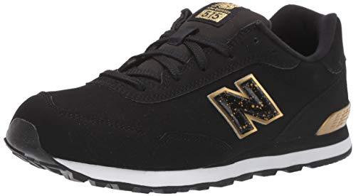 New Balance Girls' 515v1 Sneaker, BLACK/GOLD METALLIC, 11 M US Little Kid