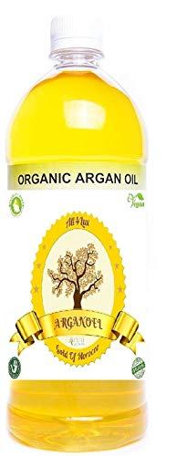 All4Lux Huile d'Argan/Huile D'Argan 100% BIO & Artisanale du Maroc, Pressée à Froid et certifié par Vegan society & BAV Institute for Hygiene and Quality Assurance, Huile d'haute qualité (1 Litre)