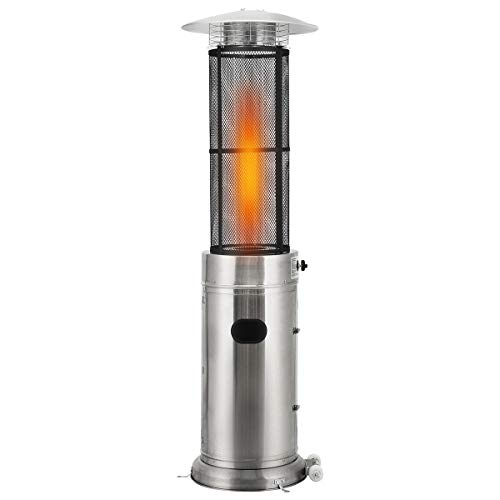 COSTWAY Outdoor Patio Gas Heater, Stainless Steel Circle Burner with Quartz Glass Tube, Wheels, Tilt Auto-Shut off Protection & Variable Power Control for Balcony Garden, Camp, BBQ Parties