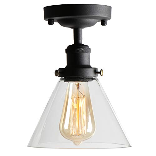 TANGSHI Vintage industriale Style Nero Plafoniere, Dome Soffitto Light Vetro Bowl paralume Lampade a Sospensione
